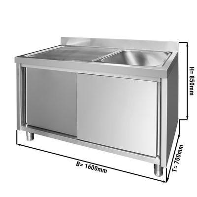 Edelstahl Spülschrank PREMIUM - 1,6 m - 1 Becken rechts - L 60 x B 50 x T 30 cm
