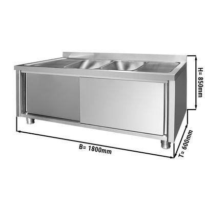 Spülschrank - 1,8 m - 2 Becken mittig - L 50 x B 40 x T 25 cm