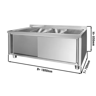 Spülschrank - 1,8 m - 2 Becken mittig - L 40 x B 50 x T 25 cm
