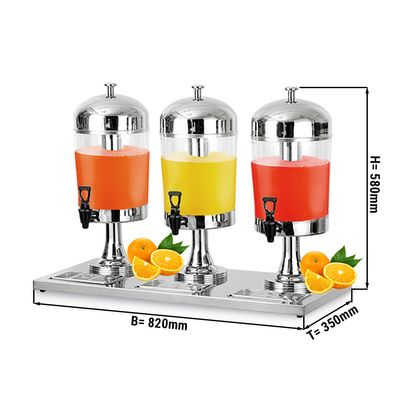 Juice- and milk dispenser with stainless steel - legs