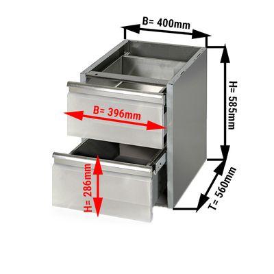 Schubladentisch PREMIUM - 0,4 m - mit 2 Schubladen - Unterbaumodul für die Arbeitstische 600 Tief