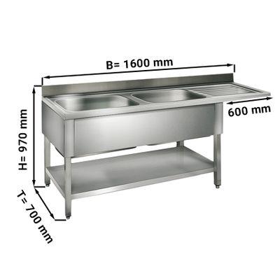 طاولة غسيل للجلاية عرض 160 سم بحوضين يسار ابعاده 40/50/25/ سم