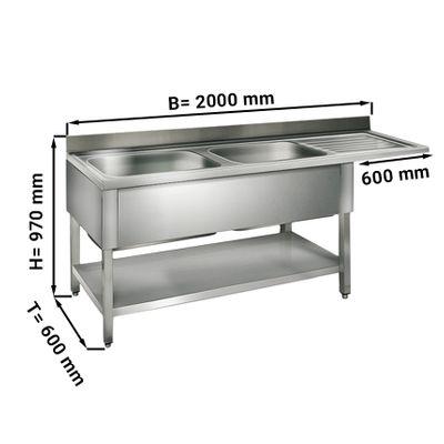 طاولة غسيل للجلاية عرض 200 سم بحوضين يسار ابعاده 50/40/25/ سم