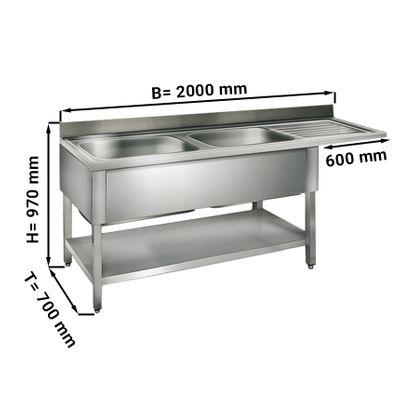 طاولة غسيل للجلاية عرض 200 سم بحوضين يسار ابعاده 60/50/30/ سم