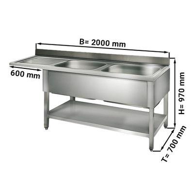 طاولة غسيل للجلاية عرض 200 سم بحوضين يمين ابعاده 60/50/30/ سم