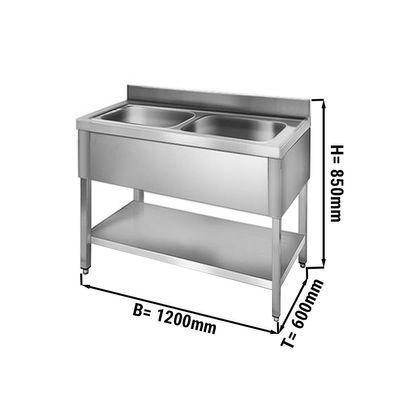 Sink unit with floor base 1,2 m - 2 sink in center L 50 x B 40 x T 25 cm