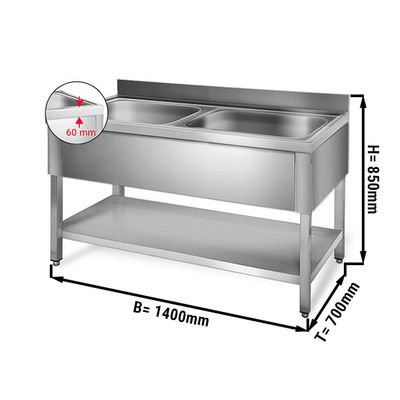 Sink unit with floor base 1,4 m - 2 sink in center L 50 x B 50 x T 30 cm