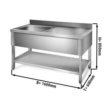 Sink unit with floor base 1,6 m - 1 sink on left L 50 x B 40 x T 25 cm