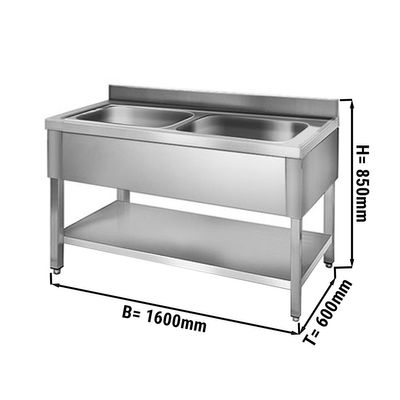 Sink unit with floor base 1,6 m - 2 sink in center L 50 x B 40 x T 25 cm