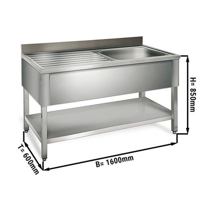 Sink unit with floor base 1,6 m - 1 sink on right L 50 x B 40 x T 25 cm