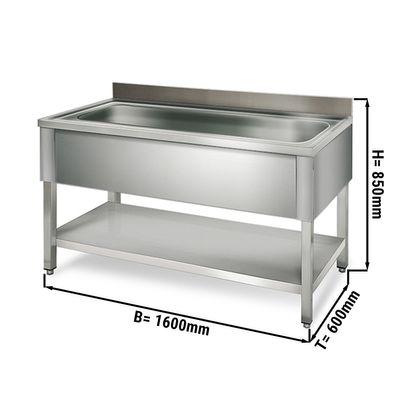 طاولة لحوض غسيل القدور عرض 1.6 م مع رف سفلي وحوض ابعاده 136/42/35 سم
