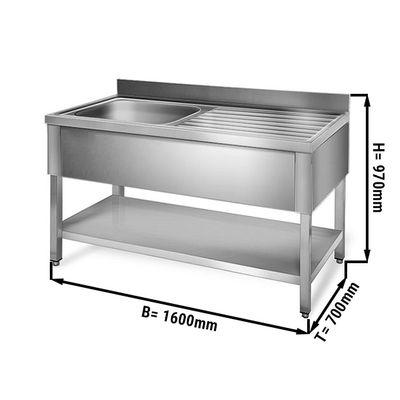 Sink unit with floor base 1,6 m - 1 sink on left L 60 x B 50 x T 30 cm
