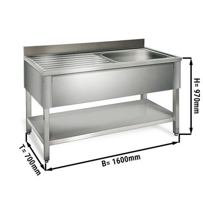Sink unit with floor base 1,6 m - 1 sink on right L 60 x B 50 x T 30 cm
