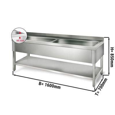 Topf - Spültisch mit Grundboden - 1,6 m - 2 Becken - L 70 x B 50 x T 35 cm