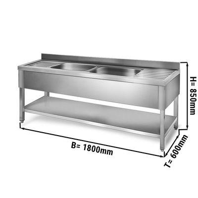 Sink unit with floor base 1,8 m - 2 sink in center L 50 x B 40 x T 25 cm