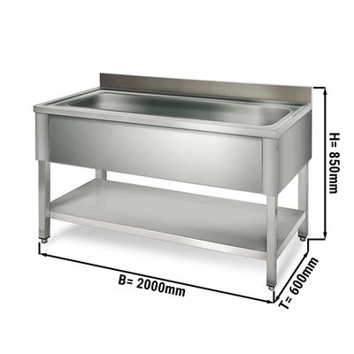 طاولة لحوض غسيل القدور عرض 2.0 م مع رف سفلي وحوض ابعاده 176/42/35 سم