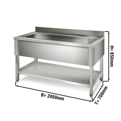 طاولة لحوض غسيل القدور عرض 2.0 م مع رف سفلي وحوض ابعاده 176/50/38 سم