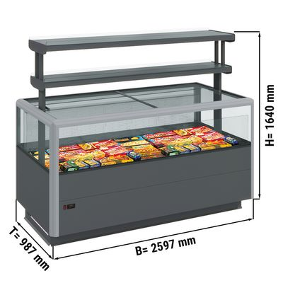 Freezer island (grey) - 2.59 x 0.98 m - with 2 shelves - incl. LED lighting
