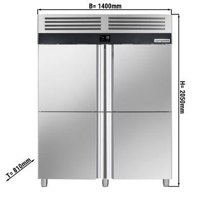 Tiefkühlschrank - 1,4 x 0,81 m - mit 4 Edelstahlhalbtüren