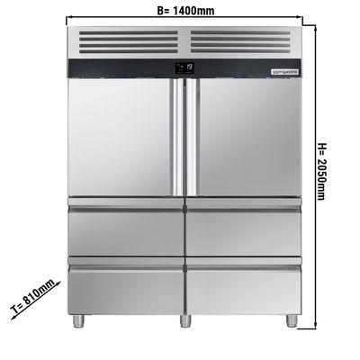 Tiefkühlschrank - 1,4 x 0,81 m - mit 2 Edelstahlhalbtüren