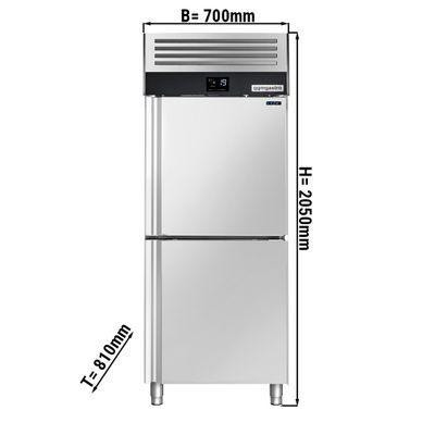 Tiefkühlschrank - 0,7 x 0,81 m - mit 2 Edelstahlhalbtür