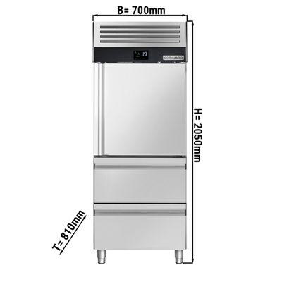 Tiefkühlschrank - 0,7 x 0,81 m - mit 1 Edelstahlhalbtür & 2 Schubladen 1/2