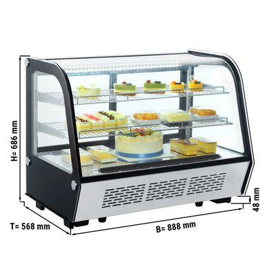 Tisch-Kühlvitrine - 160 Liter - Silber