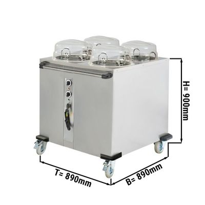 Heated plate dispenser - 4 x 50 plates