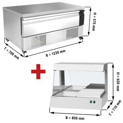 Kühl/Tiefkühl-Schubladen Kombination mit 1 Schublade - 1,23 m - 113 Liter - inkl. Pommeswärmer