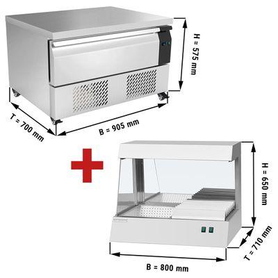 Kühl/Tiefkühl-Schubladen Kombination mit 1 Schublade - 0,9 m - 76 Liter - inkl. Pommeswärmer
