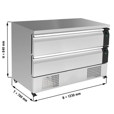 Deep freeze drawer cabinet with 2 drawers - 1,23 m - for GN 1/1 + GN 2/1 - 227 litres