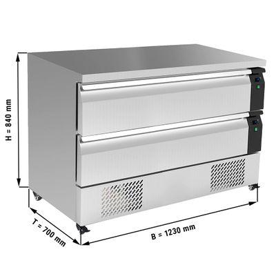 Kühl/Tiefkühl-Schubladen Kombination mit 2 Schubladen - 1,23 m - für GN 1/1 + GN 2/1 - 227 Liter