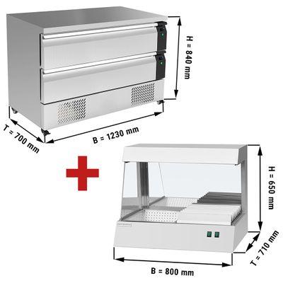 Kühl/Tiefkühl-Schubladen Kombination mit 2 Schubladen - 1,23 m - 227 Liter - inkl. Pommeswärmer