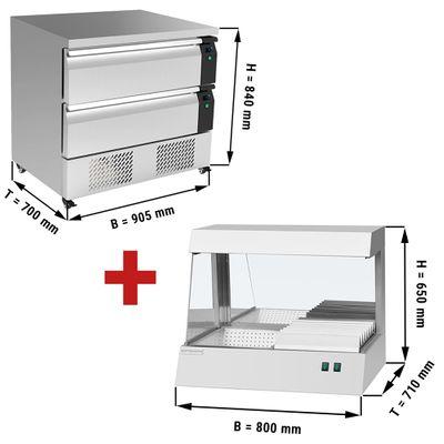 Kühl/Tiefkühl-Schubladen Kombination mit 2 Schubladen - 0,9 m - 153 Liter - inkl. Pommeswärmer