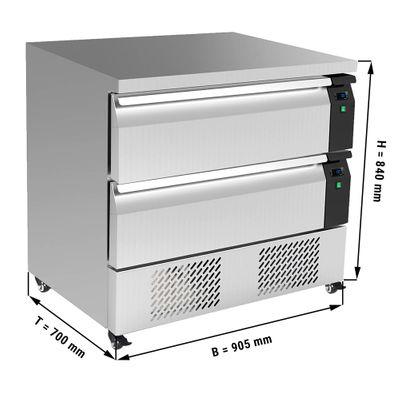 Kühl/Tiefkühl-Schubladen Kombination mit 2 Schubladen  - 0,9 m - für GN 2/1 - 153 Liter