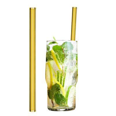 ماطات شرب زجاجية صفراء 20 سم - مستقيمة - مع فرشاة للتنظيف من النايلون- 50 قطعة