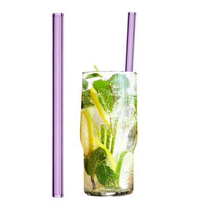 ماطات شرب زجاجية وردية 20 سم - مستقيمة - مع فرشاة للتنظيف من النايلون- 50 قطعة