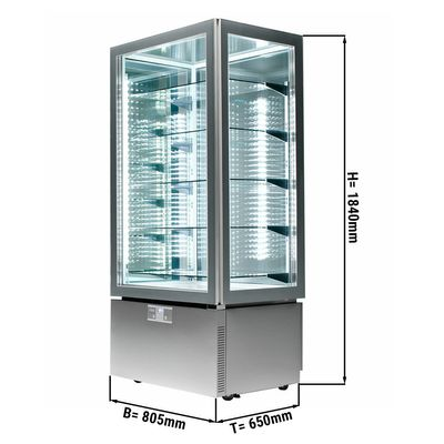 Panorama display case - 457 litres - with 5 glass shelves