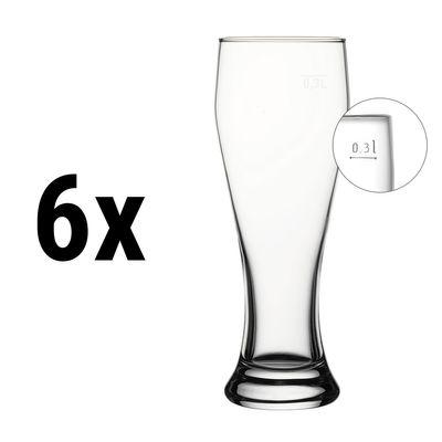 (6 Stück) Weizenbierglas - 415 cc - geeicht bei 0,3 Liter