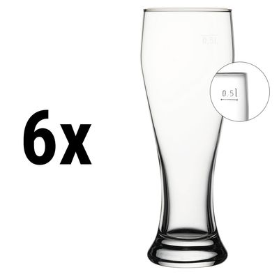 (6 Stück) Weizenbierglas - 665 cc - geeicht bei 0,5 Liter