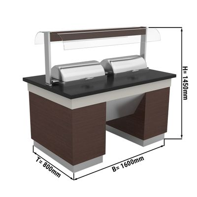 Warmbuffettheke - 1,6 x 0,8 m - mit 2 Chafing Dishes