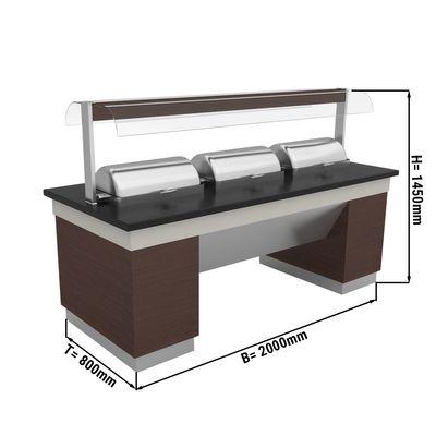 Warmbuffettheke - 2,0 x 0,8 m - mit 3 Chafing Dishes