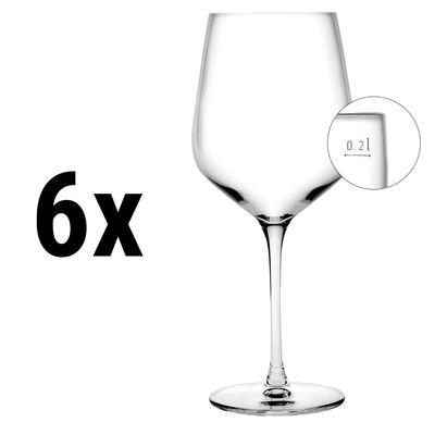 (6 Stück) NUDE - Weinglas - 440 cc - geeicht bei 0,1 & 0,2 Liter