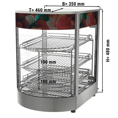 Heated display case with 3 shelves