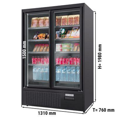 Wandkühlregal - 600 Liter - mit 4 Regalböden - Schwarz