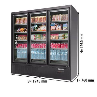 Wandkühlregal - 900 Liter - mit 4 Regalböden - Schwarz