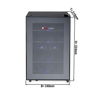 Mini wine fridge 33 liter / 2 climatic zones