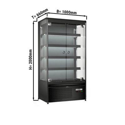 Wandkühlregal 360 Liter - mit 4 Regalen - Schwarz-Matt