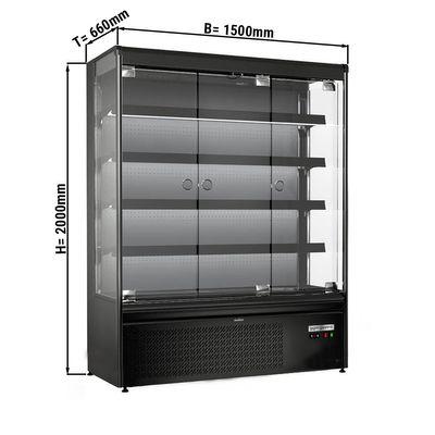 Wandkühlregal 710 Liter - mit 4 Regalen - Schwarz-Matt
