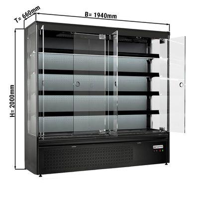 Wall cooling shelf 720 liters - with 4 shelves - black matt